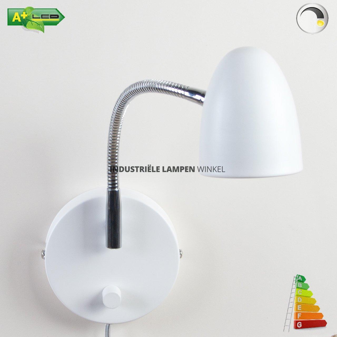Wand slaapkamer leeslamp met flexibele arm Cone wit met dimmer